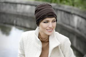 Chemotherapy turban for women Olivia Woman wearing brown headscarf front