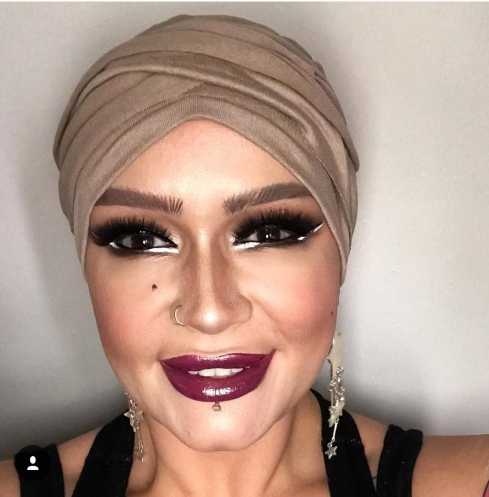 women wearing champaign colour chemotherapy headwear