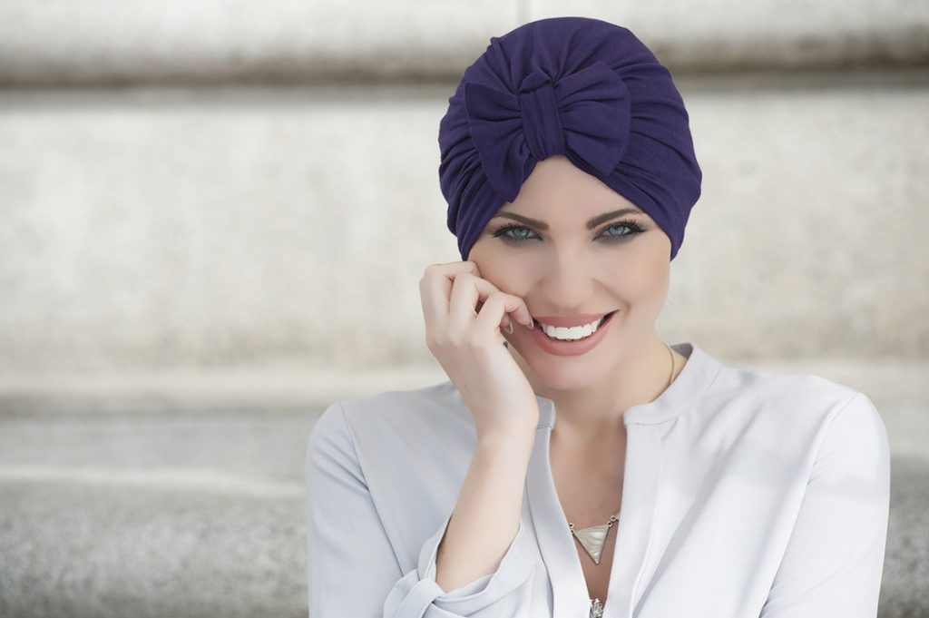 Headwear UK - Bella colour violet with a bow