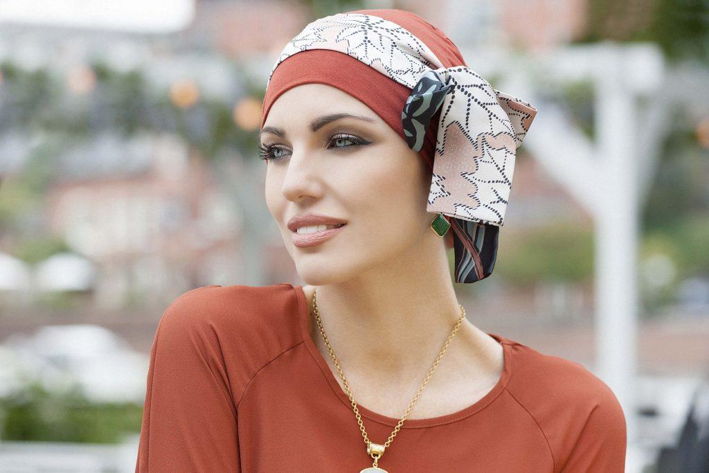 25573c68ea21d Turbans for hair loss Yanna Brick Sandy Foglia Woman in brick colour bamboo chemo  hat with
