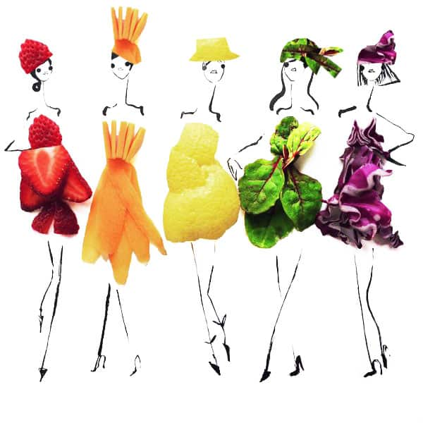 women are dressed in colorful outfits represending fruits and vegetables - about colorful chemo headwear