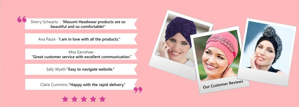 customer feedback on our headwear products banner