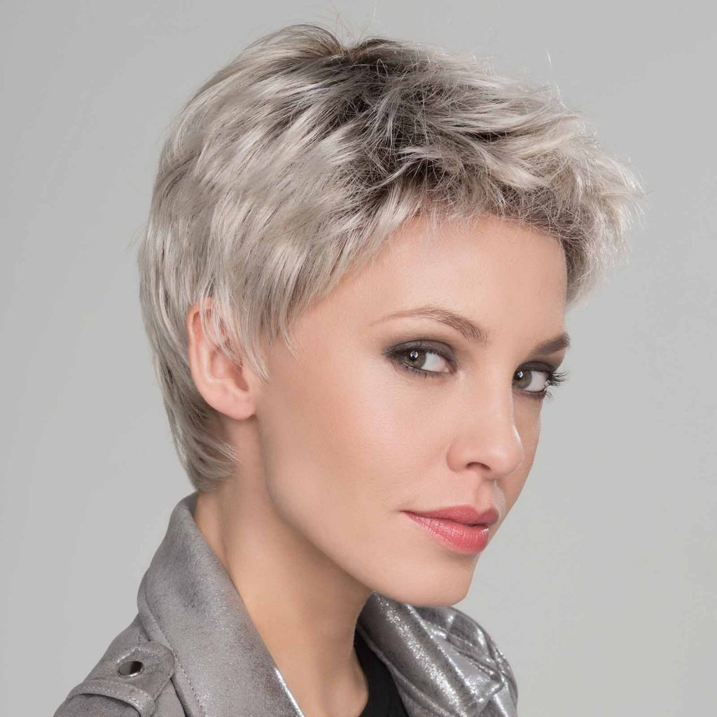 silver wig short length